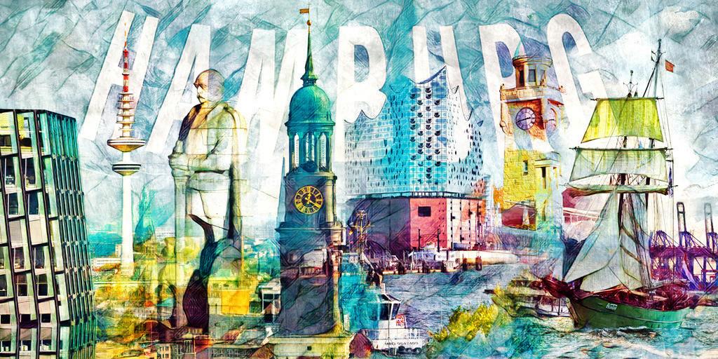 10200209 - Hamburg Collage 031 | Moderne und einzigartige Hamburg Fotocollage exklusiv hier bei Fotowelt-Hamburg.