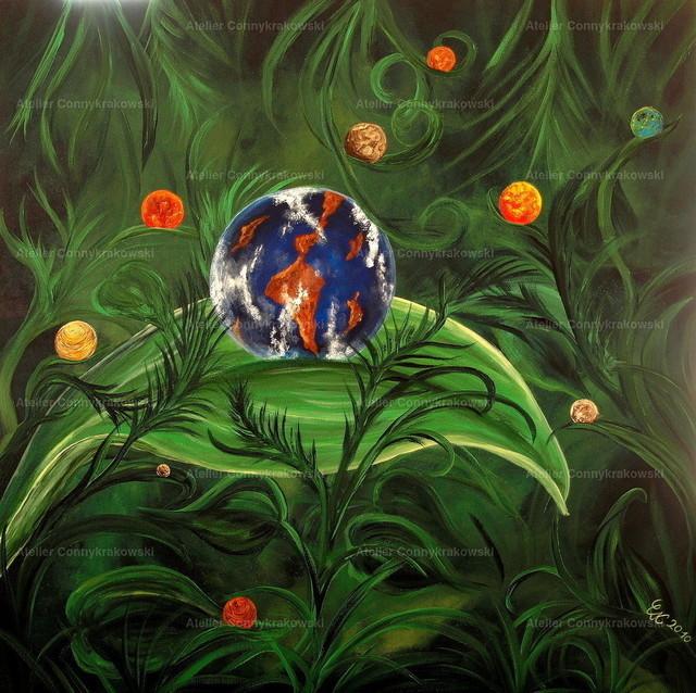 Erdwald | Phantastischer Realismus aus dem Atelier Conny Krakowski. Verkäuflich als Poster, Leinwanddruck und vieles mehr.