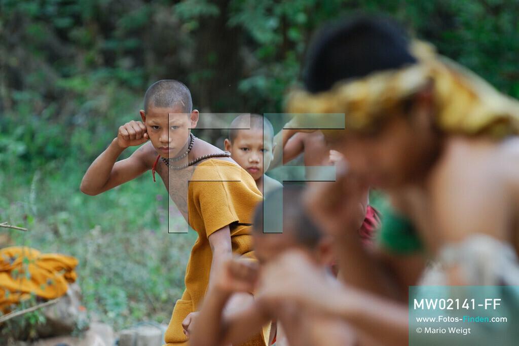 MW02141-FF | Thailand | Goldenes Dreieck | Reportage: Buddhas Ranch im Dschungel | Der junge Mönch Pansaen lernt Muay Thai (Thaiboxen).   ** Feindaten bitte anfragen bei Mario Weigt Photography, info@asia-stories.com **
