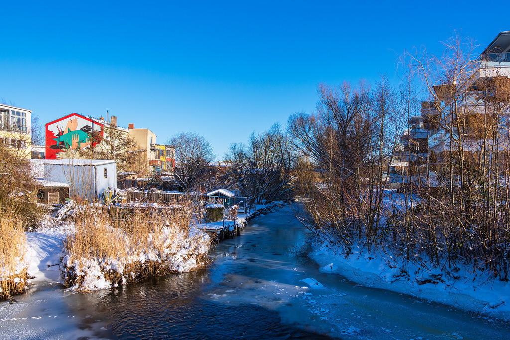 Nebenarm der Warnow in der Hansestadt Rostock im Winter | Nebenarm der Warnow in der Hansestadt Rostock im Winter.
