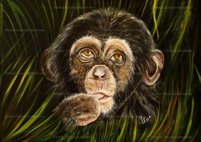 Babyschimpanse 4000x300_bearbeitet-1 | Phantastischer Realismus aus dem Atelier Conny Krakowski. Verkäuflich als Poster, Leinwanddruck und vieles mehr.