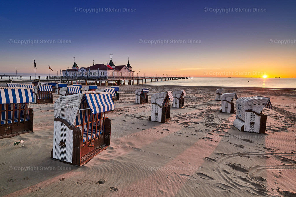 morning time at baltic sea beach and sight Ahlbeck pier in sunrise | morning time at baltic sea beach and sight Ahlbeck pier in sunrise