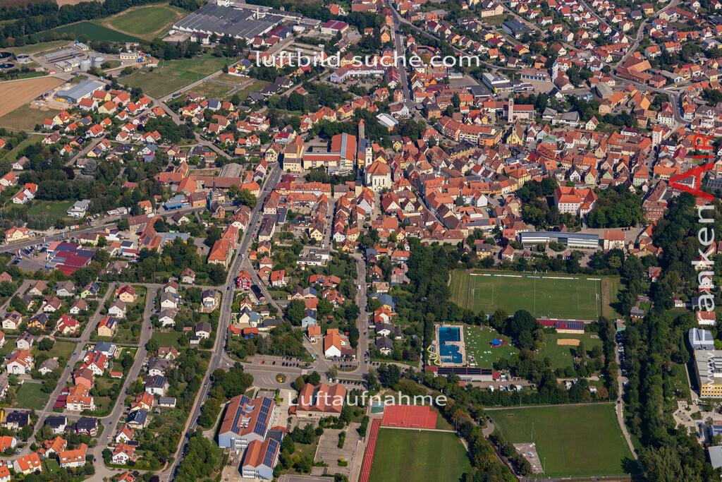 uffenheim-19-728   aktuelles Luftbild von  Uffenheim - Luftaufnahme wurde 2019 von https://frankenair.de mittels Flugzeug (keine Drohne) erstellt.