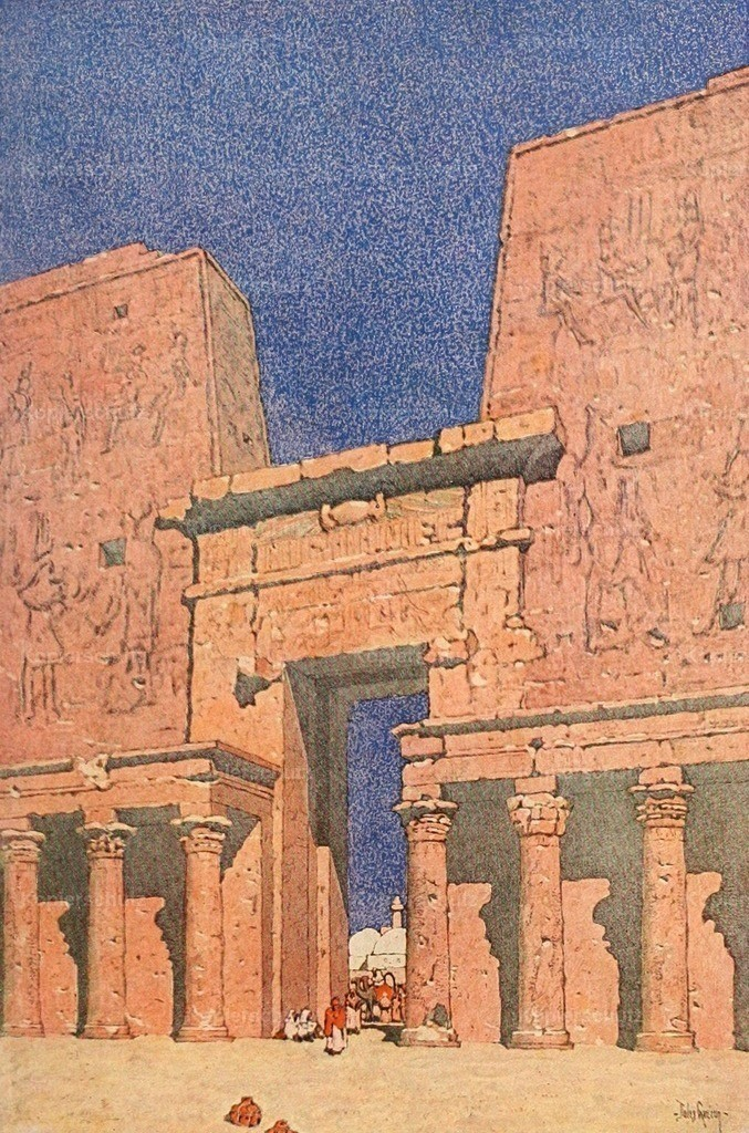 Guerin_ Jules (1866-1946) - Egypt and its Monuments 1908 - Court at the Temple of Edfu