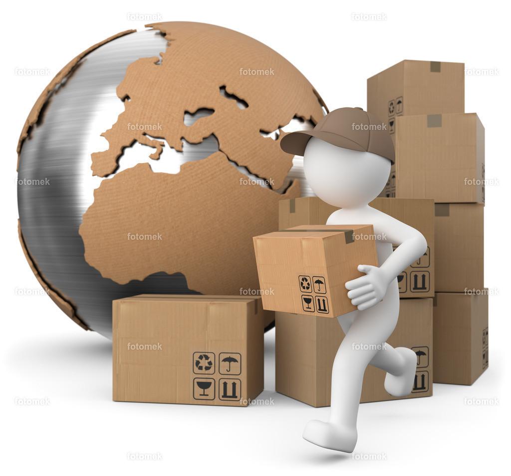 Paketversand Weltweot   3d Paketbote liefert auf der ganzen Welt seine Pakete aus.