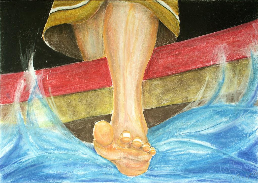 Der Schritt aufs Wasser | Über diese Geschichte wurde sicher viel geschrieben, geredet und auch gemalt. Hier zeige ich nur den Fuß  aus der Sicht von Jesus. Er überschreitet die rote Linie , das sichere Deutschland  (Fahne) und wagt das Unmögliche. Das Bild habe ich wärend eines Gottesdienstes gemalt, in dem viele junge Leute ausgesandt wurden, um in Asien in der Mission zu leben und zu arbeiten.