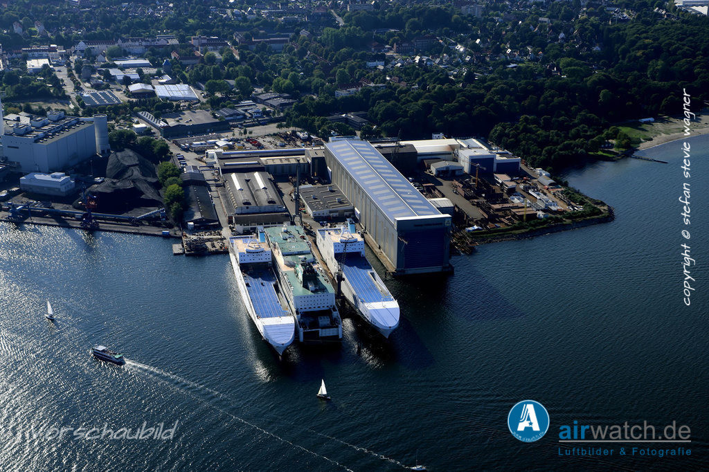 Luftbild Flensburger Foerde, Flensburger Schiffbau Gesellschaft FSG   Flensburger Foerde, Flensburger Schiffbau Gesellschaft FSG • max. 6240 x 4160 pix