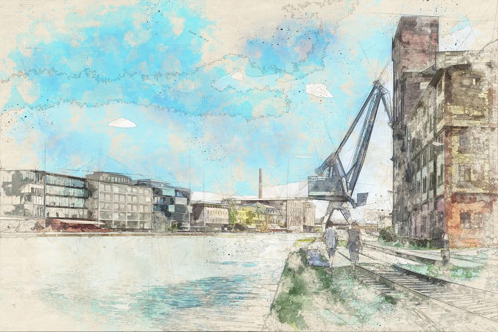 Münster - Alter Flechtheimspeicher am Hafen mit Kreativkai   Münster - Alter Flechtheimspeicher am Hafen mit Kreativkai