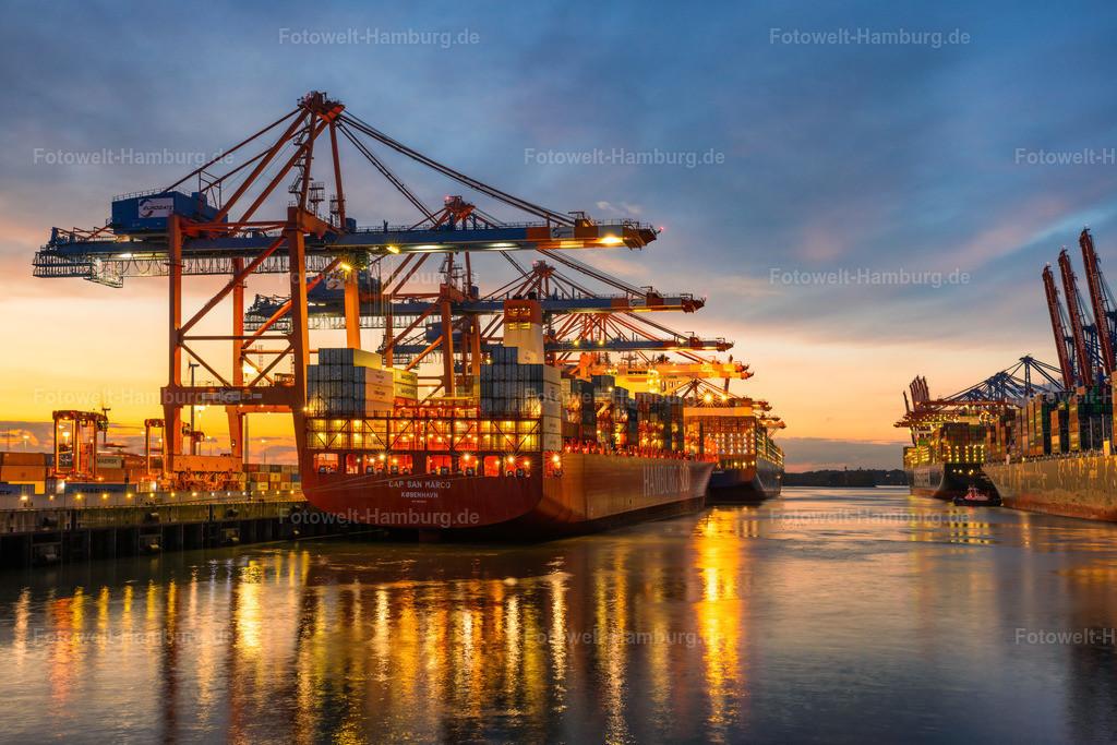 10210713 - Abendrot im Waltershofer Hafen | Blick auf das Containerschiff