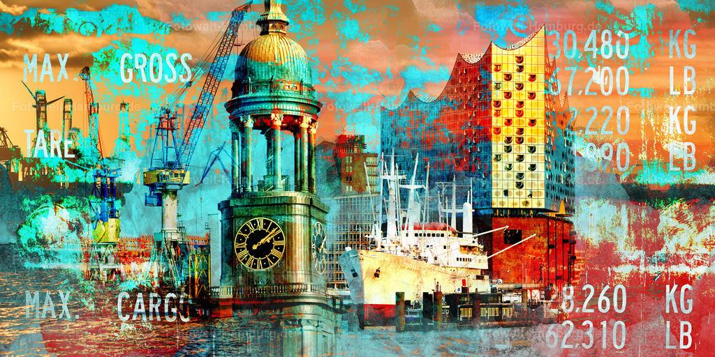 10200607 - Hamburg Collage 035 | Moderne Hamburg Fotocollage im Pop-Art Stil. Der Hingucker an jeder Wand.