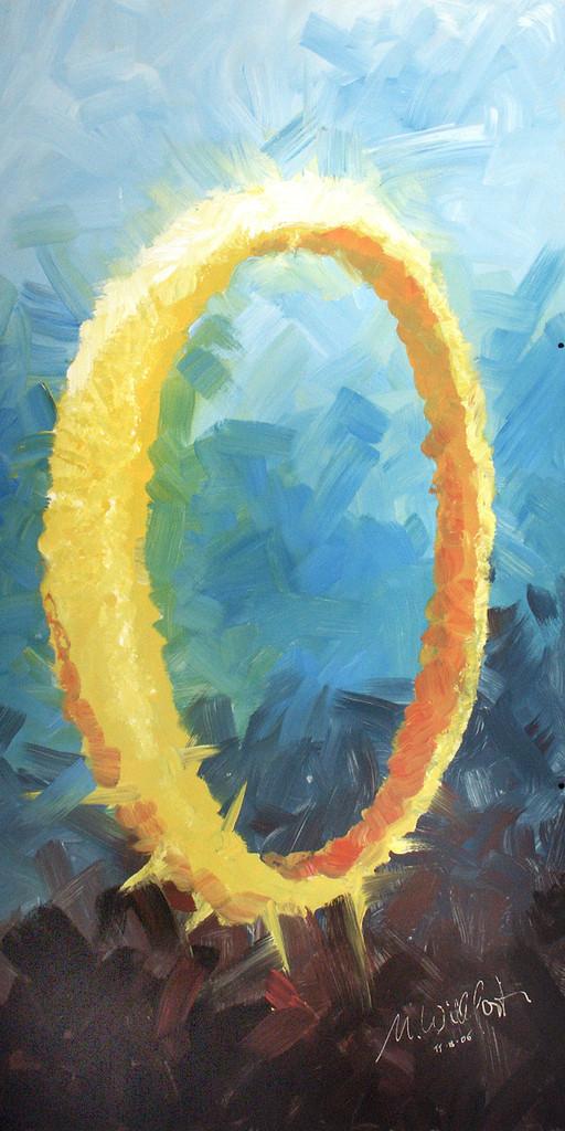 Ring der Liebe   Einen Ring mit Dornen habe ich in meinem inneren Auge gesehen. Das ging mir über viele Monate nach, bis ich meine größten Platten nahm, um dieses Bild zu malen. Hier der erste Anlauf, es darzustellen. Es stellt den Bund dar, den Gott mit den Menschen macht: Er ist im Himmel geschmiedet und reicht bis tief ins Leiden hinein. Mitfreuen - Mitleiden.