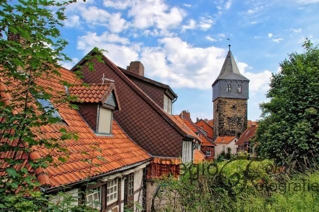 Romantischer Blick auf den Kehrwiederturm | Kehrwiederturm hinter den Dächern der Fachwerkhäuser am Lappenberg