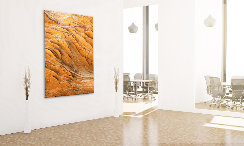 Eingangsbereich mit Motiv Sandstein | Anwendungsbeispiel für eine Wandgestaltung für den Eingangsbereich in Ihrem Unternehmen. Sie finden das Motiv in der Galerie Farben und Formen - Bäume und Grün