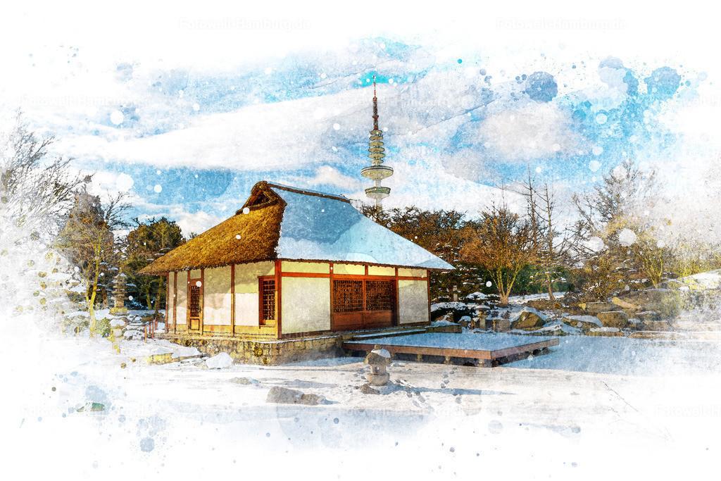 10210307 - Japanisches Teehaus | Entdecken Sie unsere Hamburgmotive im Aquarell-Look. Die Kombination von Fotografie und hochwertiger digitaler Nachbearbeitung lässt dieses Bild des Japanischen Gartens in Planten un Blomen wie ein Aquarell-Gemälde erscheinen.