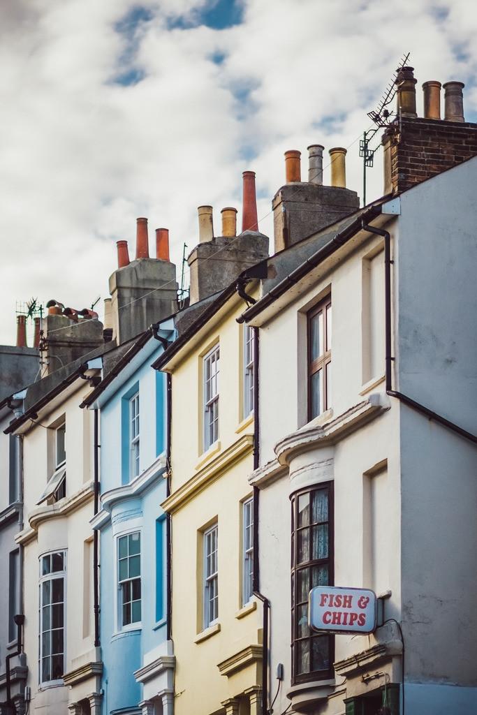Brighton   britische Architektur, Fassaden, Schornsteine, Brighton, England