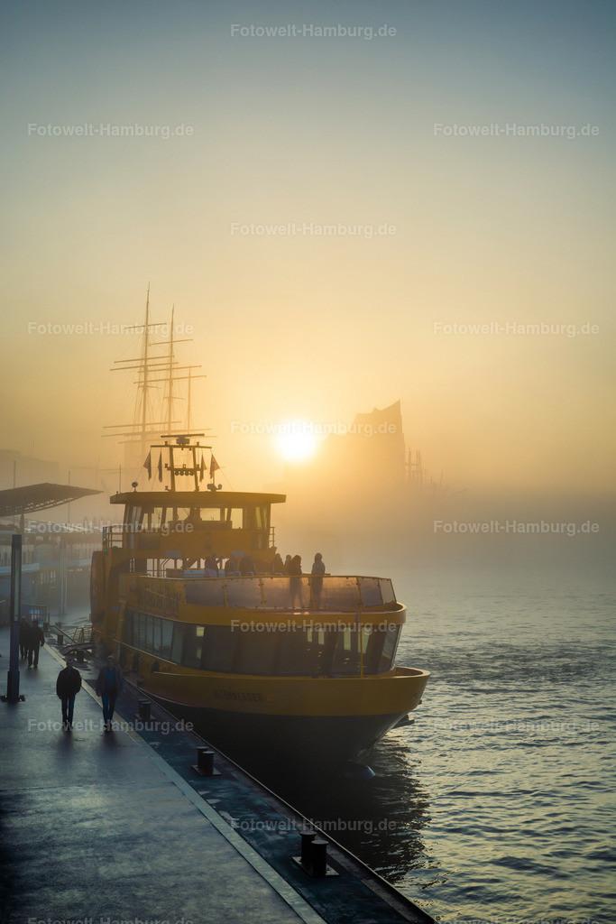 10201101 - Elbphilharmonie im Morgennebel | Blick von den Landungsbrücken auf die noch im Nebel versunkene Elbphilharmonie bei Sonnenaufgang.
