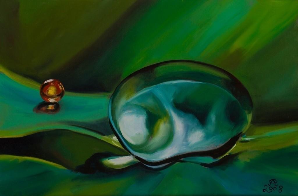 Grünes Eis und rote Glaskugel | Originalformat: 40x60cm  -   Produktionsjahr: 2008