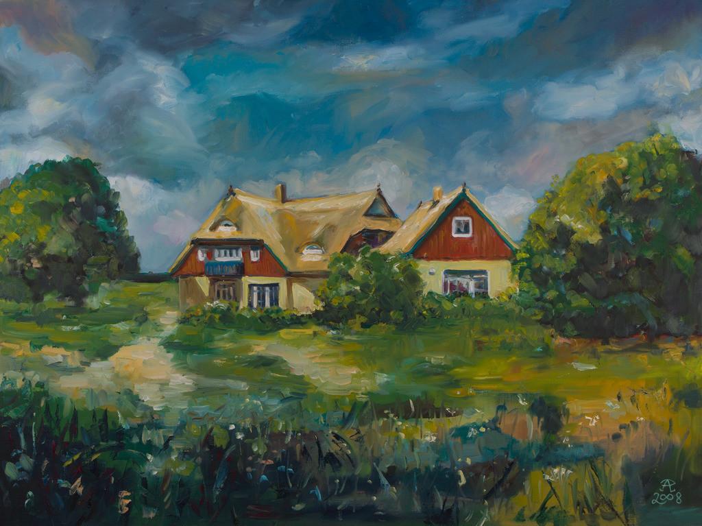Darß-Landschaft mit Riedhäusern | Originalformat: 60x80cm  -   Produktionsjahr: 2008