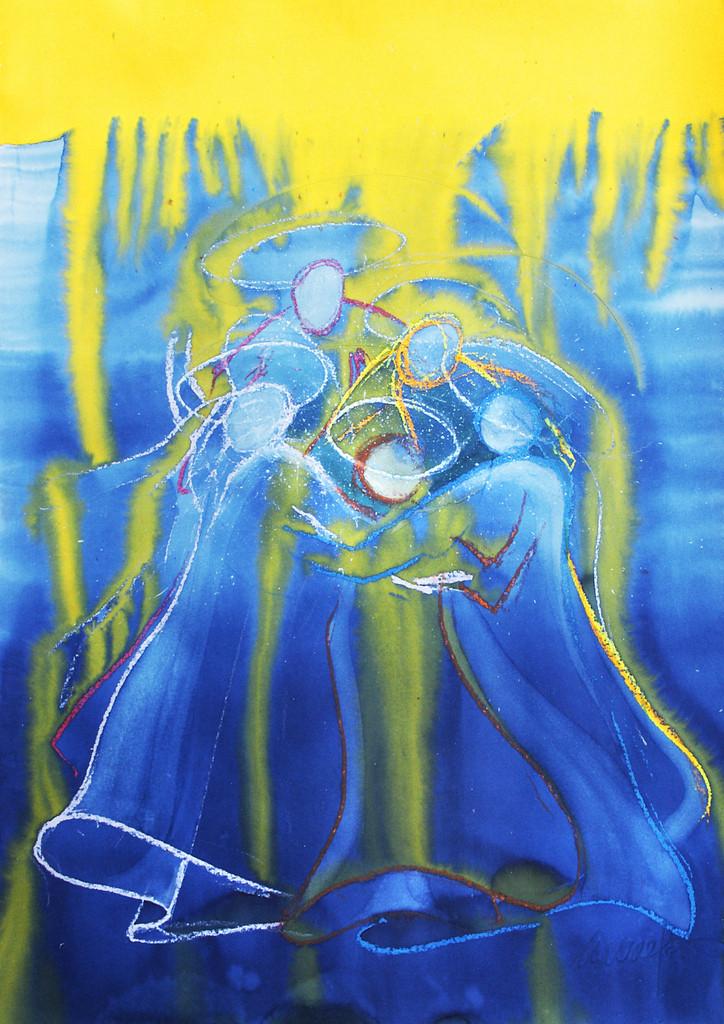 Die Einheit der Brüder | Beim Versuch, diese biblische Aussage zu malen, habe ich das ''Salböl'' mit gelber Holzbeize ersetzt, die vom Kopf bis in den Saum der Gewänder fliessen konnte.