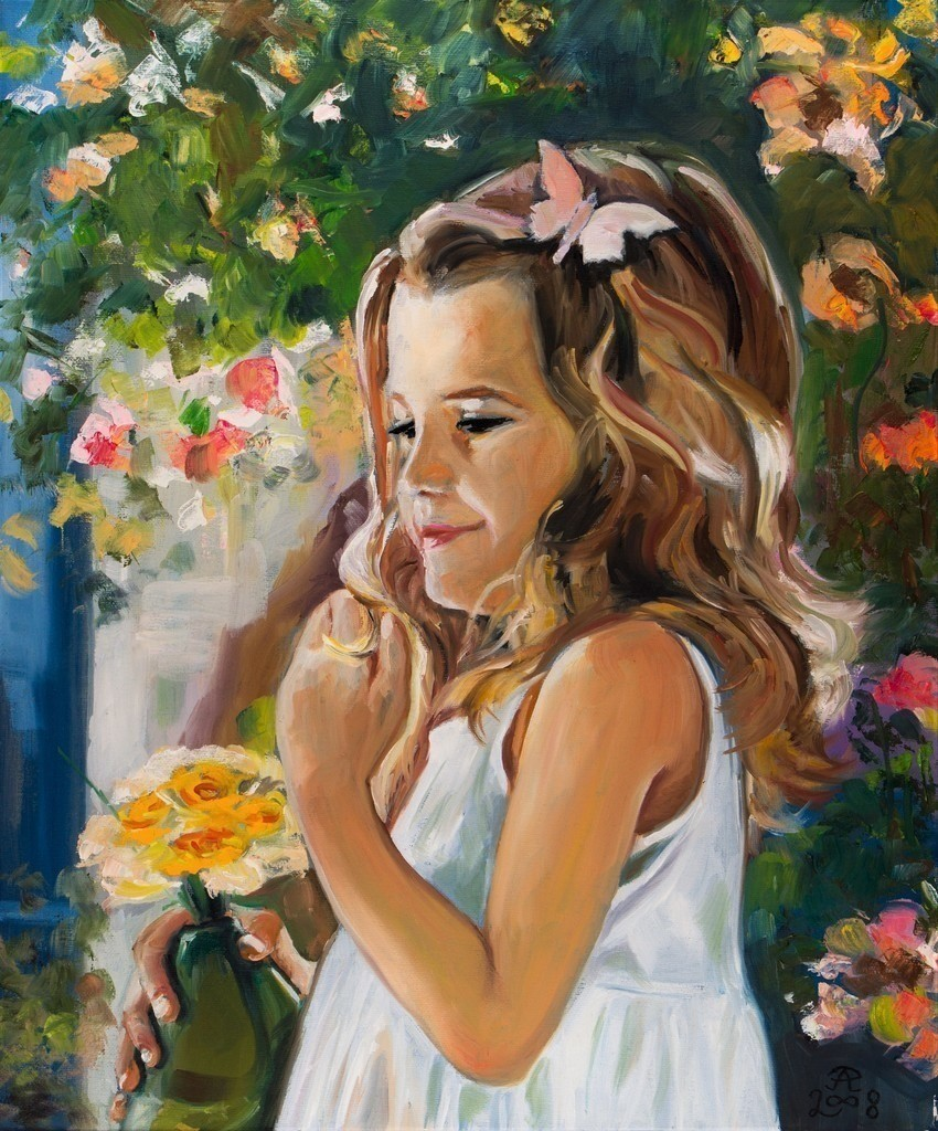 Mädchen mit grüner Blumenvase | Originalformat: 60x50cm  -  Produktionsjahr: 2008