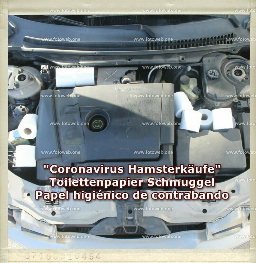 Coronavirus Hamsterkeufe_Card | Schmuggel von Toilettenpapier , bleibt nicht immer unentdeckt, da hilft auch nicht das Zauberwort Corona