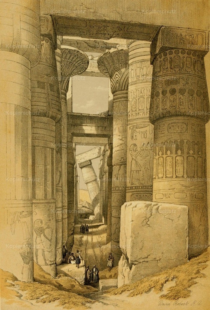 Roberts_ D. (1796-1864) - Holy Land 1855 - Looking across the Hall of Columns_ Karnak