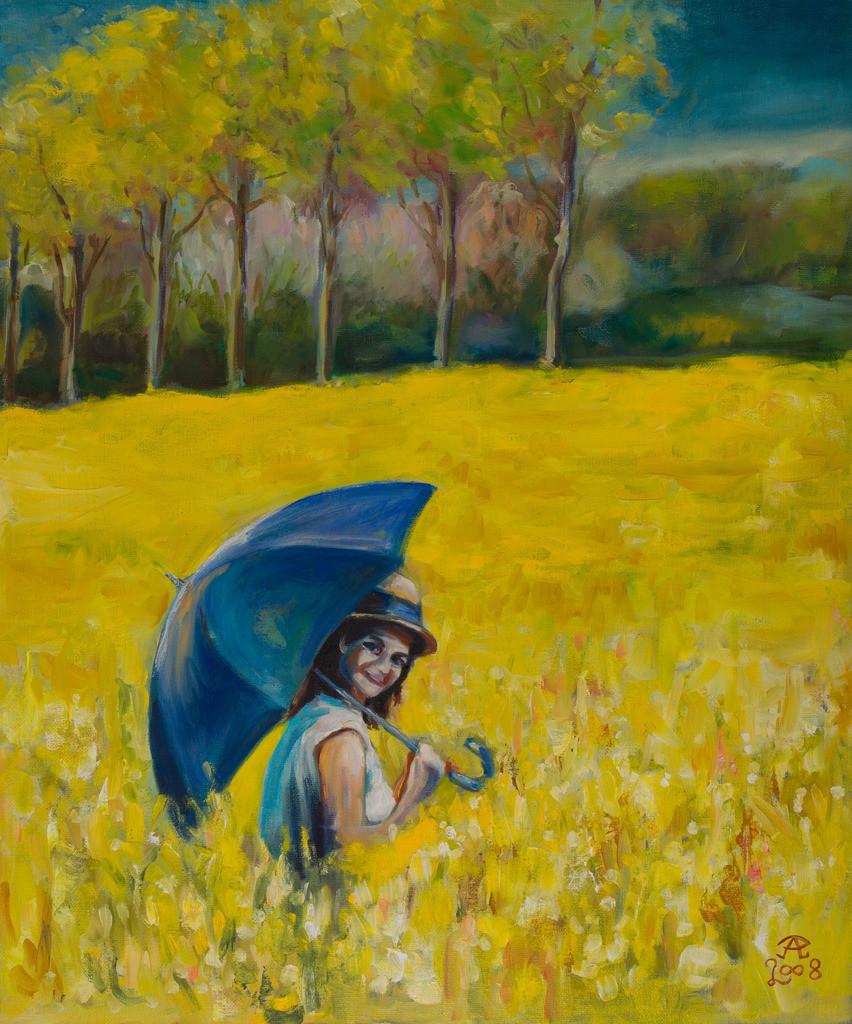 Mit blauem Schirm durch gelben Raps | Originalformat: 60x50cm  -  Produktionsjahr: 2008