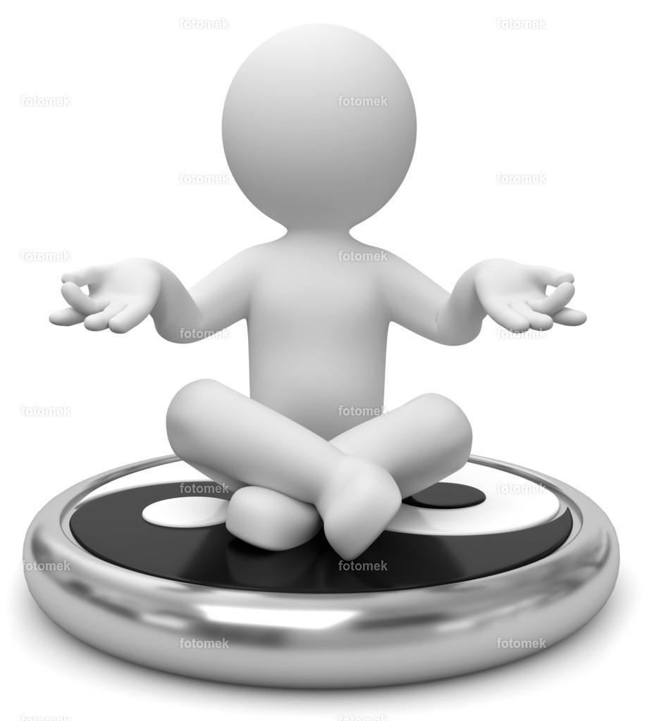 3d Männchen Yin Yang meditation | weisse 3D Männchen von Fotomek
