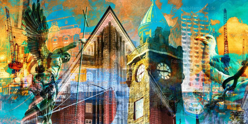 10200711 - Hamburg Collage 036 | Moderne abstrakte Hamburg- Fotocollage - mit diesem Motiv setzen Sie einen tollen Farbakzent an jeder Wand.