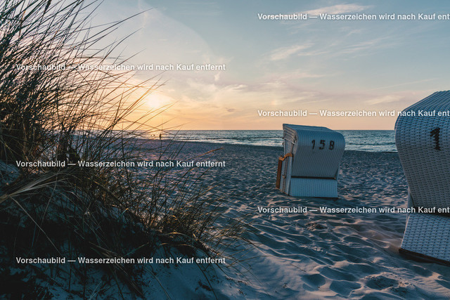 Standmotiv, Sonnenuntergang am Strand