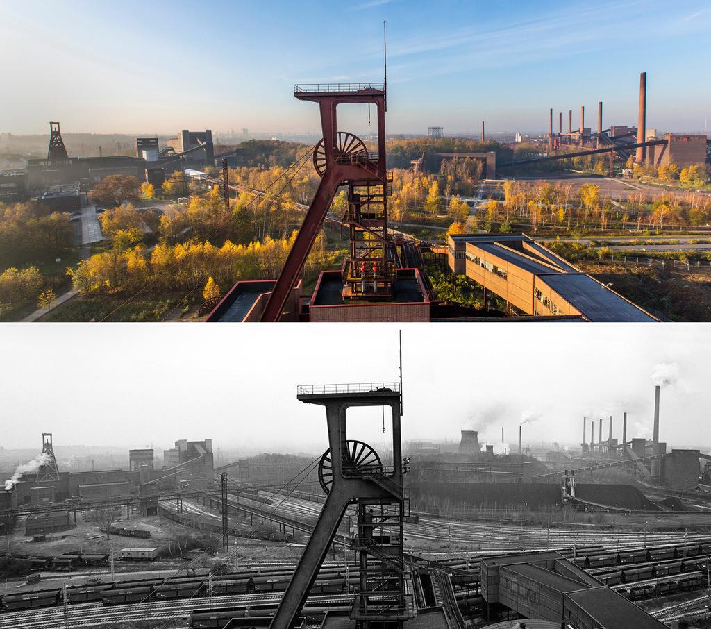 JT-141113-2226 | Welterbe Zeche Zollverein, Panorama auf Fördergerüst Schacht 1, links Doppelbock Schacht 12, rechts die Kokerei, Foto vom 14.12.1987, die Zeche war genau 1 Jahr geschlossen, die Kokerei arbeitete noch bis 1993, oben Vergleich 27 Jahre später, selbe Perspektive,