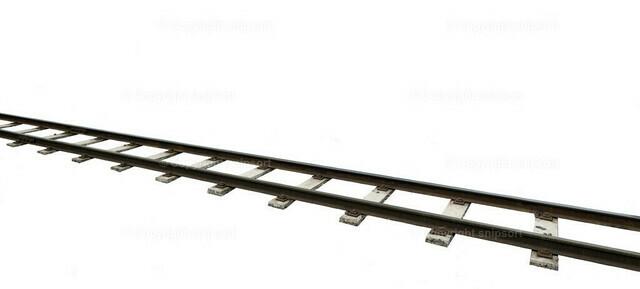 Gleise (Freigestellt) | Diagonal durchs Bild verlaufende Bahngleise über weißem Hintergrund