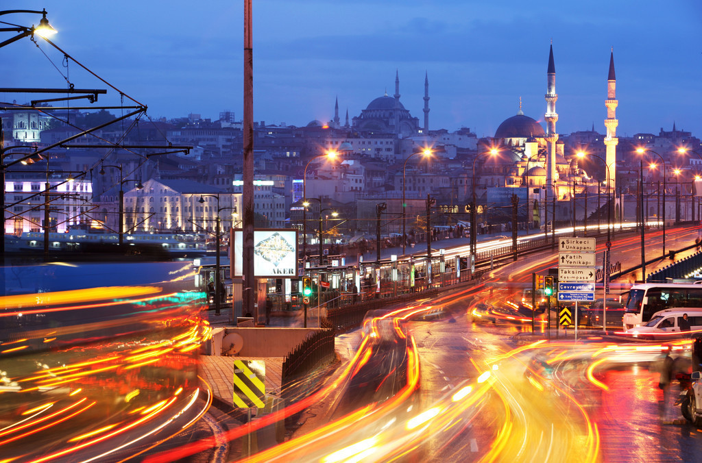 Istanbul Galatabruecke   Türkei, Istanbul, Brücke, Galata, Moscheen, Verkehr, City, Innenstadt,