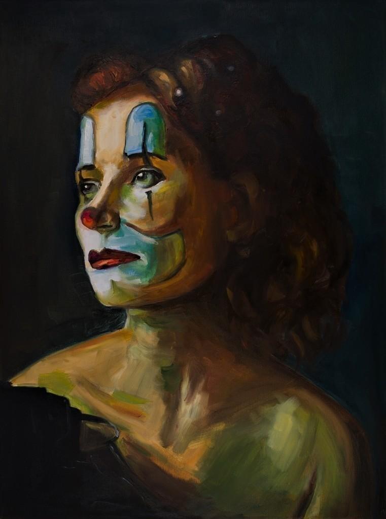 Frau mit Clownsgesicht | Originalformat: 80x60cm  -  Produktionsjahr: 2020