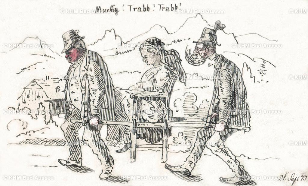 Ritter_01 | Karrikatur von Gustav August Ritter aus dem Jahre 1873. Noble Damen, die zur Sommerfrische im Ausseerland waren, wurden mit einem speziellen Tragestuhl auf die Berge getragen.