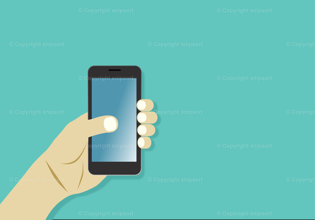 Smartphone 1 | Ein männliche Hand hält ein Smartphone über einem türkisen Hintergrund.