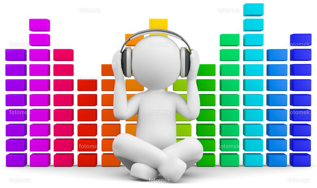 3d Männchen mit Sound und Musik | 3d Männchen macht Musik und prüft den Sound mit Kopfhörern. Um Nebengeräusche zu verhindern hat das Männchen Kopfhörer auf.