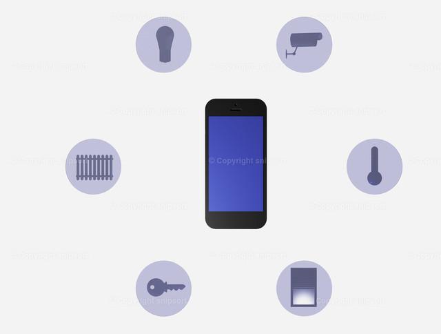 Smarthome (3D-Rendering) | Smartphone mit verschiedenen Anwendungen als Smart Home System (3D Illustration)