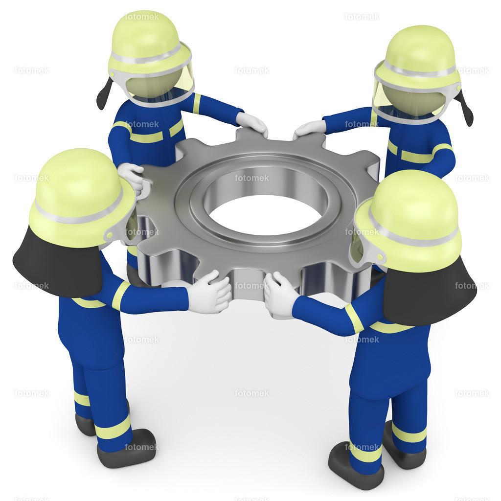 3d Männchen THW Teamwork | 3d Männchen vom technischen Hilfswerk, thw, mit Zahnrad, zeigen das die Arbeit nur mit der untersüttzung eines ganzen Teams funktioniert.