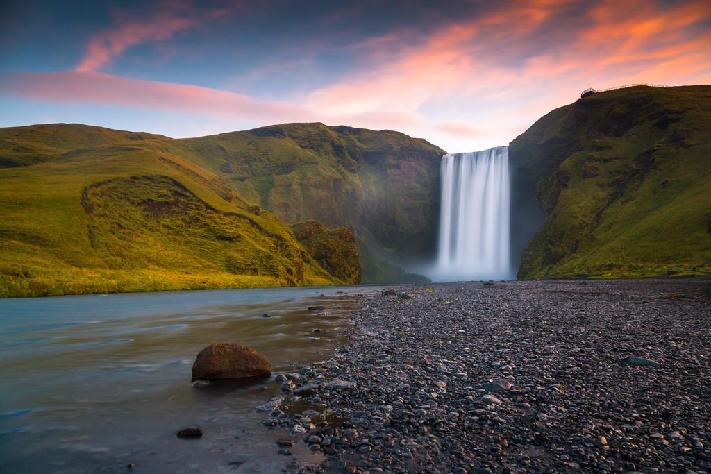 Morning has broken | The powerful Skogafoss waterfall on Iceland.