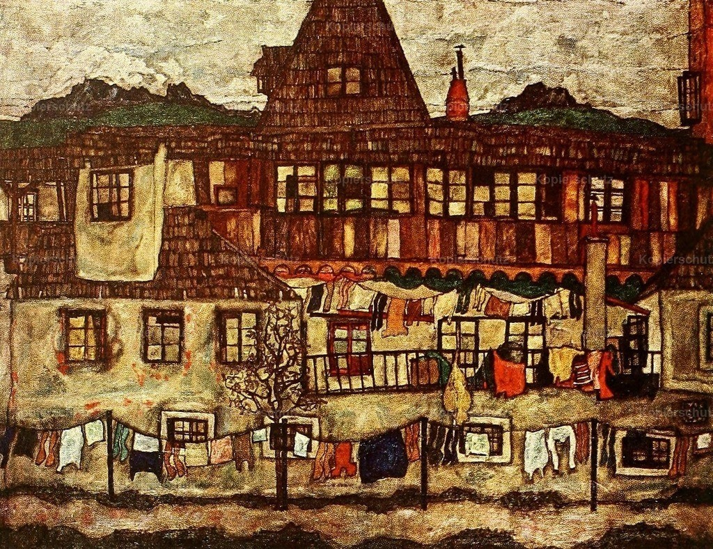 Schiele_ Egon (1890-1918) - Houses with Drying Laundry 1917