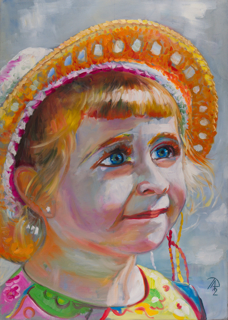 Das Mädchen mit Strohhut | Originalformat: 70x50cm  -  Produktionsjahr: 2012