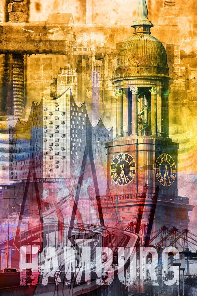 10190518 - Hamburg Collage 018 | Modernes Hamburg Wandbild