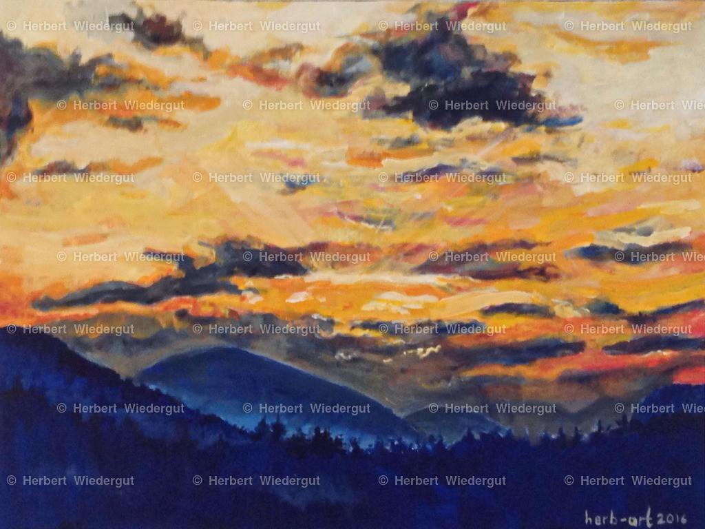 Blick nach Westen | Acrylbild von Dr. Herbert Wiedergut, herb-art, Motiv: Faakersee