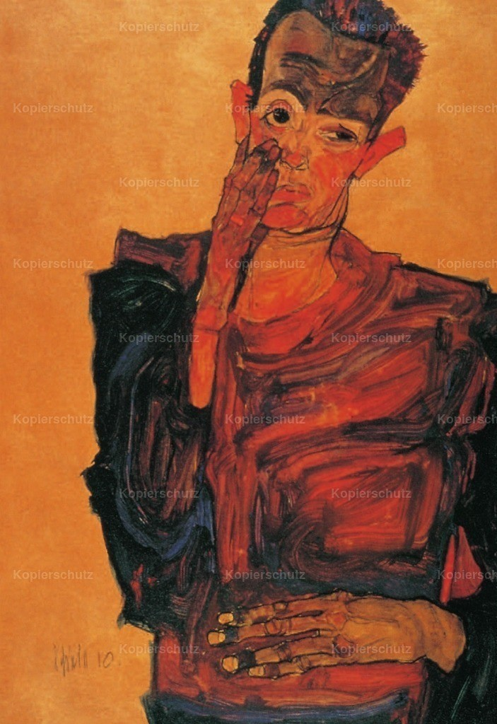 Schiele_ Egon (1890-1918) - Self-portrait with hand to cheek 1910