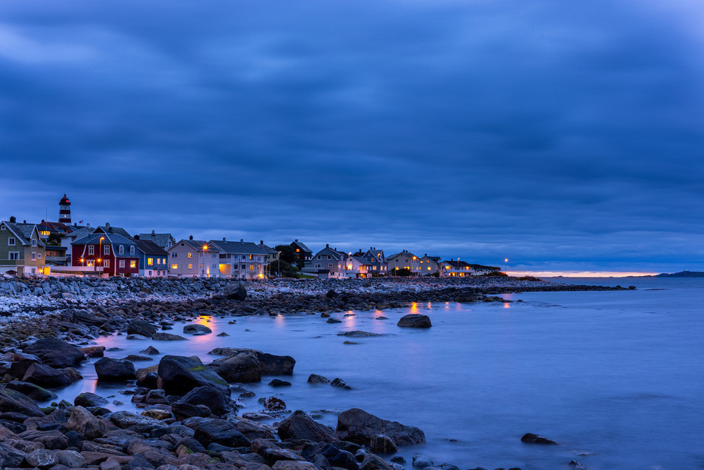 Fisherman's home   Blue hour in a Norwegian coast village with some magic light on the horizon