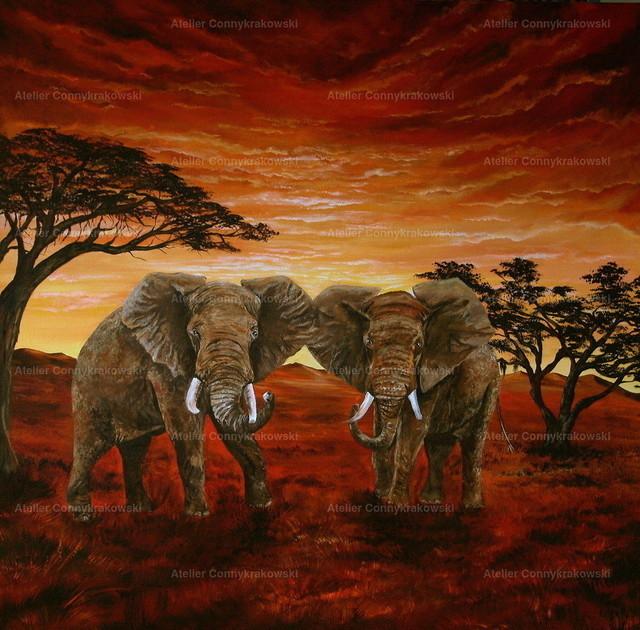 Elefanten-1 | Phantastischer Realismus aus dem Atelier Conny Krakowski. Verkäuflich als Poster, Leinwanddruck und vieles mehr.