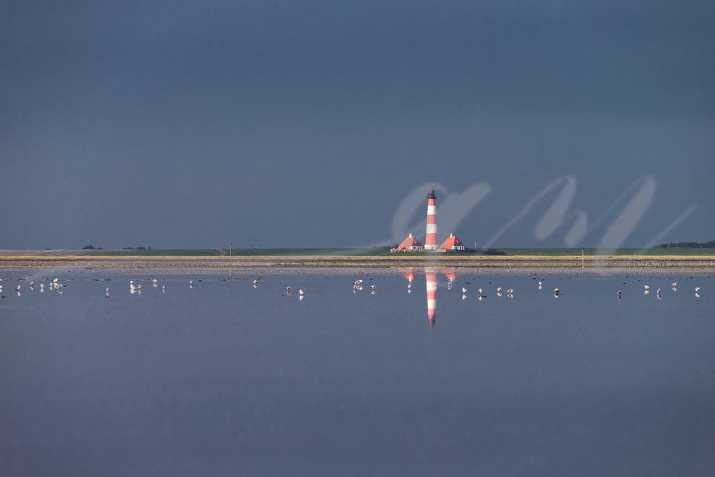 Westerhever Leuchtturm spiegelt sich | Leuchtturm an der Nordsee