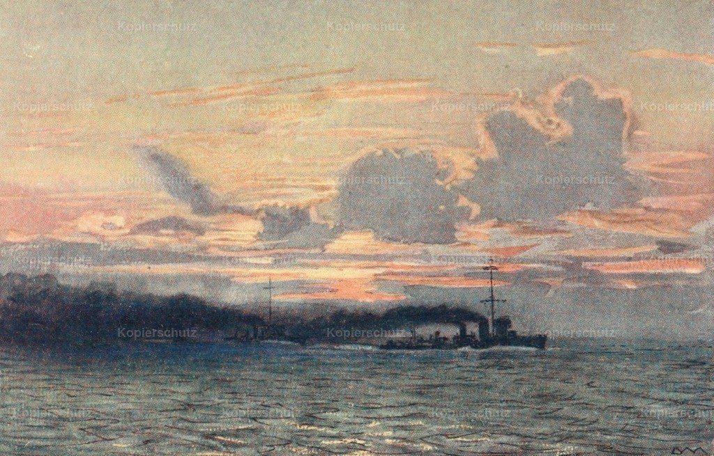 Maxwell_ Donald (1877-1936) - Naval Front 1920 - Destroyers making a smoke-screen