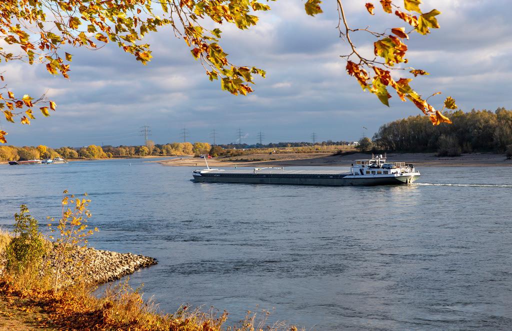 JT-181028-676 | Rhein bei Voerde, Niederrhein, extremes Niedrigwasser, Rheinpegel bei 95 cm, absolut tiefster gemessener Pegelstand, nach der langen Dürre fällt  Rheinschifffahrt, Sandbank,